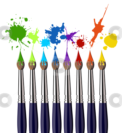 Paint brushes and color splash stock photo, Eight brushes and colorful splattered paint. White background. Vector file also available. by Cienpies Design