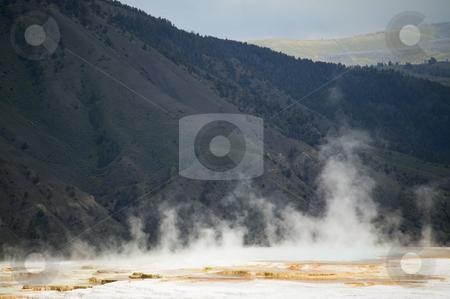 Mammoth Hot Springs, Yellowstone National Park stock photo, Mammoth Hot Springs, Main Terrace, Yellowstone National Park, Wyoming, nature stock photography by Bryan Mullennix