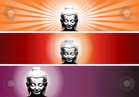 Buddha colors stock photo, Buddha colorful banners. Vector file available. by Cienpies Design