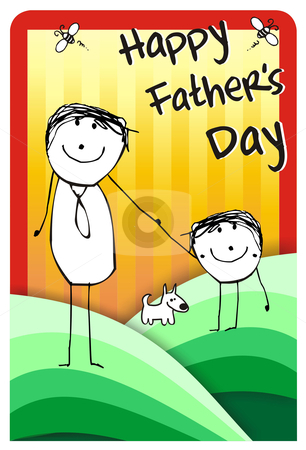 Happy fathers day gretting stock photo, Colorfull hand writting illustration of a father, his son and their dog. Vector format available by Cienpies Design