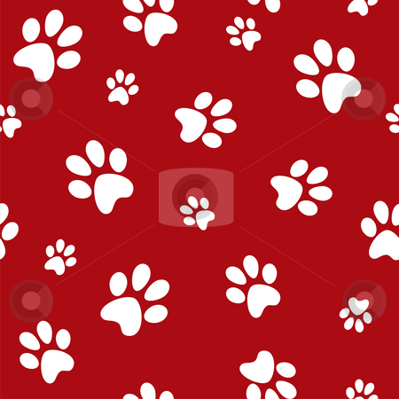 Dog footprints stock photo, white dog footprints on red background ...