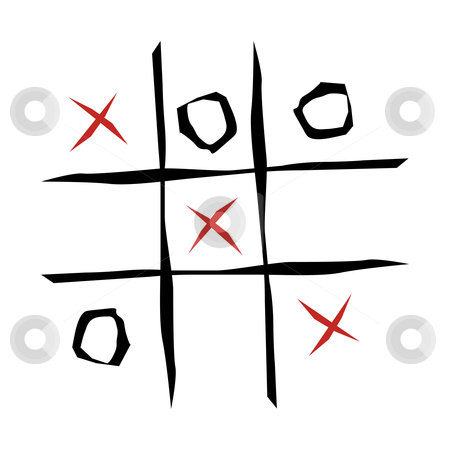Tic tac toe game  stock photo, Tic tac toe game illustration on white background by Cienpies Design