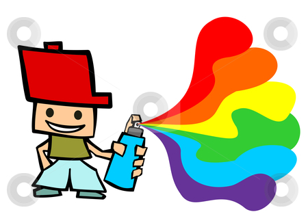 Grafitti cartoon boy  stock photo, Cartoon guy spraying on white background by Cienpies Design