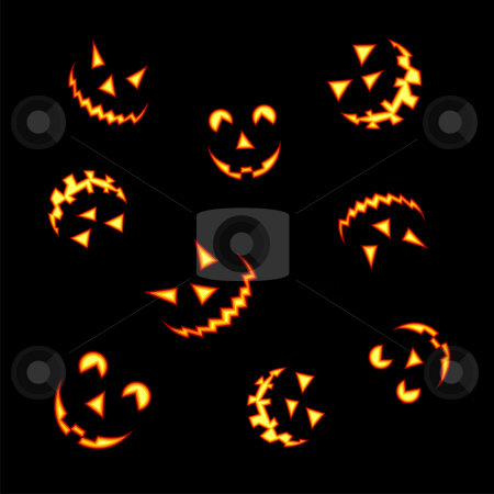 Halloween pumpkin faces stock photo, Halloween pumpkin faces lit brightly on black background  by Cienpies Design
