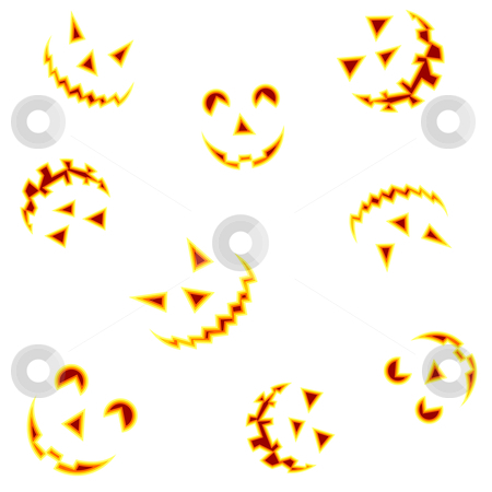 Halloween pumpkin blurred faces  stock photo, Halloween pumpkin faces smiling on white background. Vector illustration  by Cienpies Design