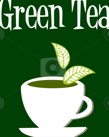 Green tea label stock photo, White cup full of green tea and leaves falling down. Green tea legend written as headline over green background. by Cienpies Design