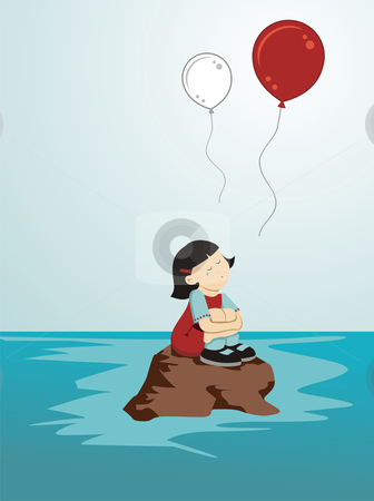 Crying girl for Japan stock photo, Girl crying sitting on a rock while loose balloons in the colors of Japan by Cienpies Design
