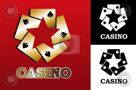 Casino logo stock photo, Four aces. Casino Poker Cards on black background. Vector available by Cienpies Design