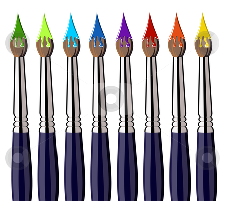 Aligned paint brushes with colors on the bristles stock photo, Eight paint brushes in a row with colorful paint on the bristles. White background. Vector available by Cienpies Design