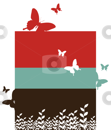 Butterflies and leaves background stock photo, Butterfly and leaf pattern. Spring motif design on red, black and blue vertical bars. White background. Vector available by Cienpies Design