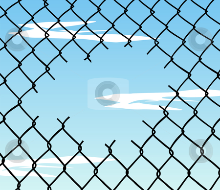 Cut wire fence with blue sky background stock photo, Cut wire fence with blue sky and clouds background. Vector available by Cienpies Design