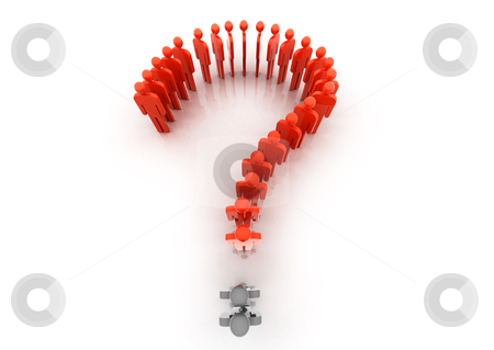 Question mark stock photo, A question mark made from people by Paviem