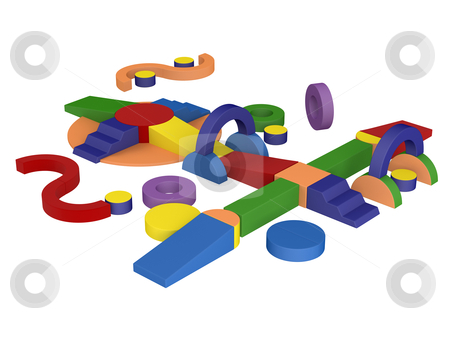 Toy blocks stock photo, Colorful toy blocks isolated on white background by Nmorozova