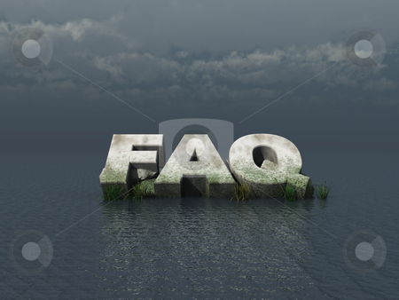 Faq monument stock photo, faq monument at the ocean - 3d illustration by J?