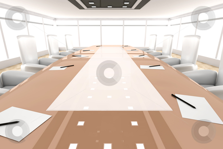 Conference Room stock photo, 3d rendered Illustration by Michael Osterrieder