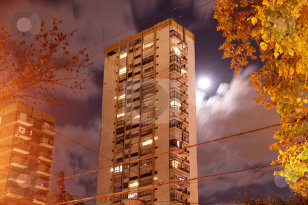 Building in Palermo, Buenos Aires stock photo, A building at night in Palermo, Buenos Aires, Argentina. by Michael Osterrieder