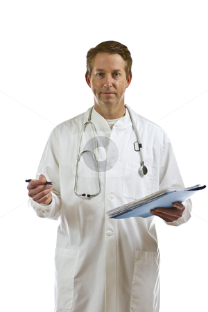 Male doctor with medical records on white background stock photo, Male doctor with paper medical folder on white background by tab62
