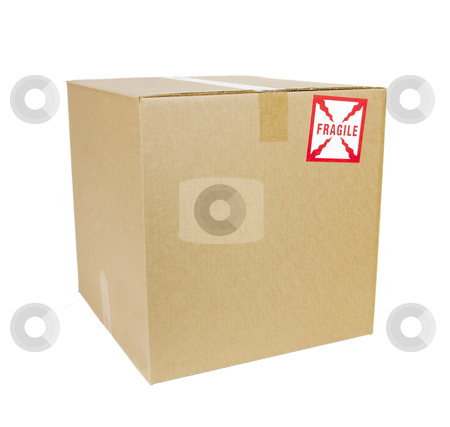 Shipping Box - Photo Object stock photo, Shipping box with fragile sticker. Includes clipping path. by Bryan Mullennix