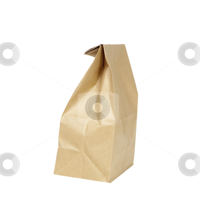 Paper Lunch Sack - Photo Object stock photo, Brown paper lunch sack, with clipping path by Bryan Mullennix