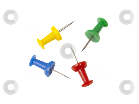 Thumbtacks - Photo Object stock photo, Colorful thumbtacks, includes clipping path by Bryan Mullennix