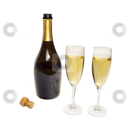 Photo Object - Champagne stock photo, Champagne bottle with glasses by Bryan Mullennix