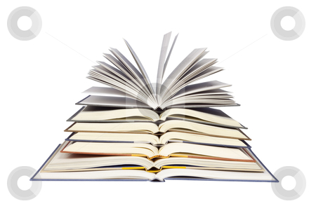 Stack of Open Books - Photo Object stock photo, Stack of open books, with clipping path included by Bryan Mullennix