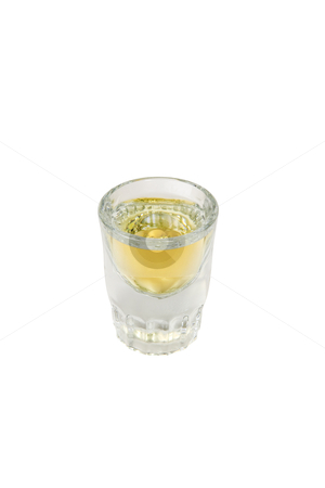Shot Glass stock photo, Shot glass full of liquor, includes clipping path by Bryan Mullennix
