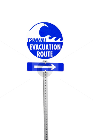 Tsunami Evacuation Route stock photo, Sign pointing towards the tsunami evacuation route, includes clipping path by Bryan Mullennix