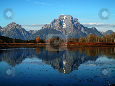 Mount Moran at the Oxbow Bend stock photo, Mount Moran with the Snake River in Teton National Park, Wyoming. by Brian Johnson