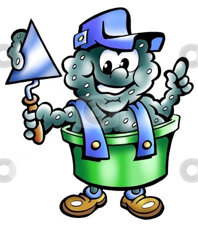 Mortar bucket with a troweling in his hand  stock photo, Mortar bucket with a troweling in his hand  by DrawShop - Poul Carlsen