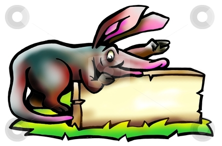 Aardvark holding a sign stock photo, Aardvark holding a sign by DrawShop - Poul Carlsen