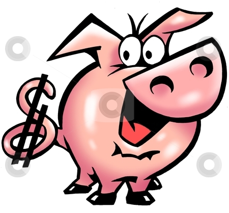 Pig with a dollar sign on his tail  stock photo, Pig with a dollar sign on his tail  by DrawShop - Poul Carlsen