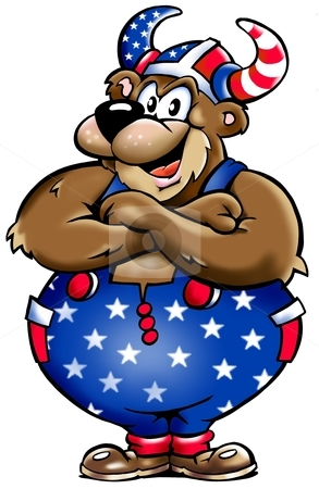 Viking Bear from USA   stock photo, Viking Bear from USA   by DrawShop - Poul Carlsen