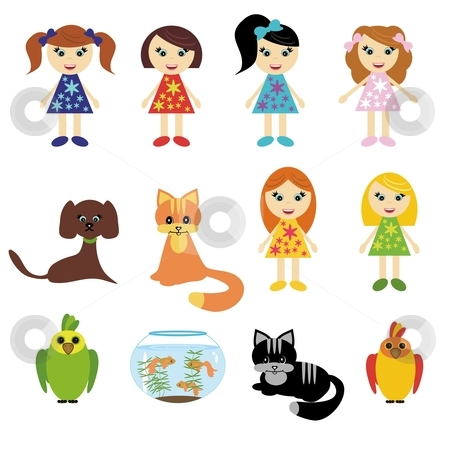 Girls and pets on white stock photo, girls and pets on white background by kle555