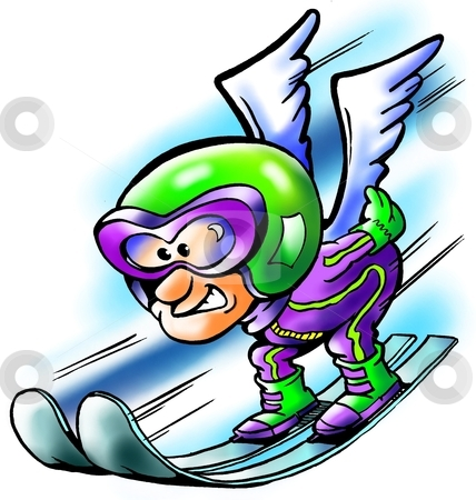 Ski jumping sportsman flying with wings  stock photo, Ski jumping sportsman flying with wings  by DrawShop - Poul Carlsen