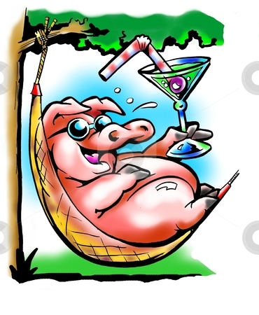 Fat Pig resting in a hammock  stock photo, Fat Pig resting in a hammock  by DrawShop - Poul Carlsen