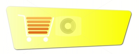 Buy Now Yellow stock photo, Buy now button with a shopping cart on white background. by Henrik Lehnerer