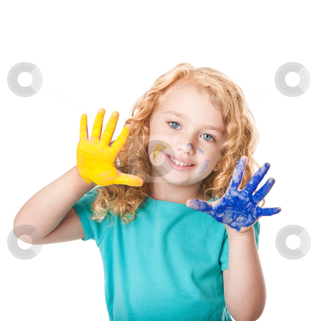 Playing with hand paint colors stock photo, Happy cute little girl playing with hand paint colors being artistic, isolated. by Paul Hakimata