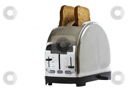 Toaster with Bread stock photo, Stainless steel toaster with fresh bread by tab62