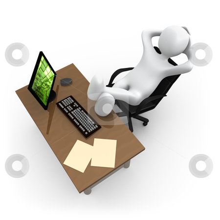 Relaxing In The office stock photo, 3d person relaxing in the office. by Konstantinos Kokkinis