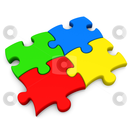Teamwork stock photo, Four connected jigsaw puzzle pieces . by Konstantinos Kokkinis
