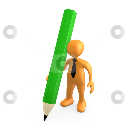 Person With Large Pencil stock photo, 3d person holding a large pencil . by Konstantinos Kokkinis