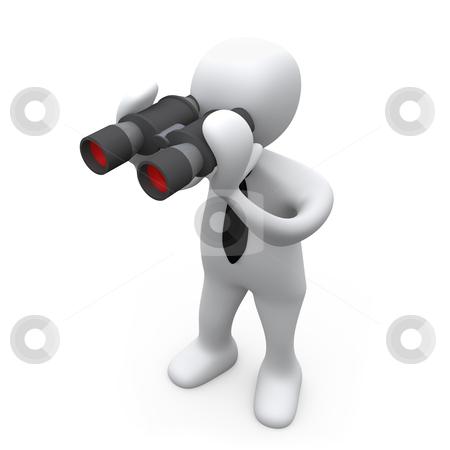 Looking Through Binoculars stock photo, 3D Business Person Looking Through Binoculars . by Konstantinos Kokkinis