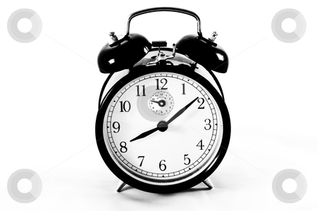 Alarm clock isolated on white stock photo, Traditional alarm clock on white background. In aRGB color for beautiful prints. by Perseomedusa