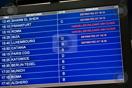 Cancelled: volcanic ash cloud stock photo, Detail of airport monitor, with cancelled flight for volcanic ash, useful for concept linked to unexpected event by Perseomedusa
