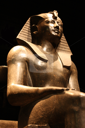 Egyptian statue - pharaoh entire stock photo, Egyptian statue in the Museo Egizio, in Turin, Italy. This museum is specialising in Egyptian archaelogy and anthropology. It houses the world's largest and most comprehensive collection of Egyptian antiquities outside the Egyptian Museum in Cairo by Perseomedusa