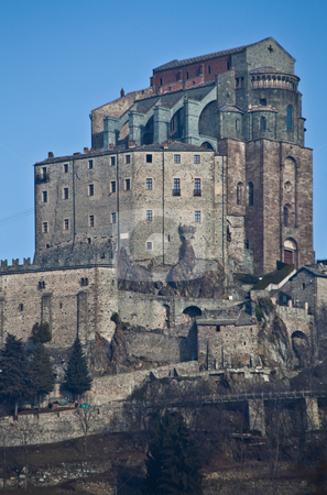 Sacra di San Michele - Italy stock photo, Abbey of 11st century, Piedmont region, Italy. The church, whose construction lasted for many years, is characterized by the unusual position and architecture. by Perseomedusa
