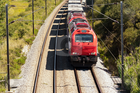 Cargo Train passing with some  freight wagons, in Portugal stock photo, Cargo Train passing with some  freight wagons, in Portugal by Paulo M.F. Pires