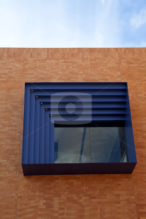 Modern Window stock photo, A modern square window on brick building by Kevin Tietz