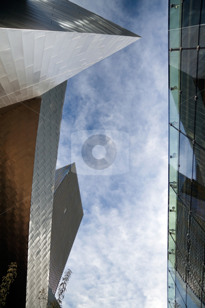 Modern Buildings stock photo, A view of the sky between two modern buildings  by Kevin Tietz